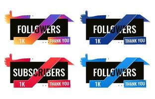 obrigado 1000 seguidores e assinantes banner de mídia social vetor