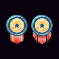 medalhas do emblema de classificação de diamante dourado brilhante arredondado da interface do usuário do jogo com estrela vetor