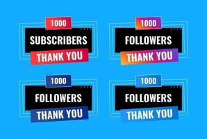 obrigado 1000 seguidores e design de banner de assinante vetor