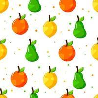 design de padrão sem emenda de frutas desenhadas à mão plana com textura de pontos vetor