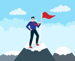 empresário subir no topo do líder da montanha atingir a meta com seus esforços conceito de negócio de liderança e trabalho em equipe vetor