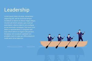 trabalho em equipe com o líder no barco conceito de negócio ilustração vetorial estilo plano design ilustração vetorial isolado no fundo azul empresários trabalhando juntos em equipe e conceito de liderança vetor