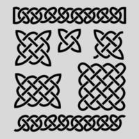 conjunto de padrões celtas e elementos celtas ilustração vetorial preto infinito vetor
