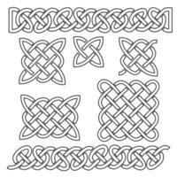 conjunto de padrões de nó celtas e elementos celtas em ilustração vetorial de fundo preto malha infinita branca vetor