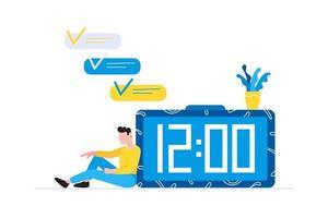 planejamento eficaz gestão de tempo conceito de negócio homem sentado perto do relógio e descansando depois do trabalho vetor