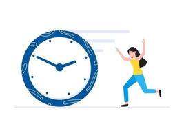 modelo de conceito de negócio de gerenciamento de tempo mulher correndo após conceito de prazo de relógio vetor