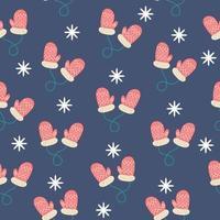 padrão com luvas de natal e neve em fundo azul vetor
