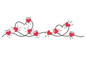 luzes do coração adoram doodle isolado no fundo branco vetor