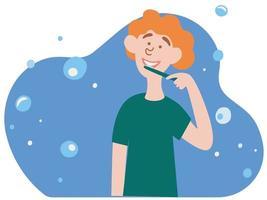 menino bonito escovando os dentes. rotina matinal diária, procedimento de higiene oral ou dentária. vetor