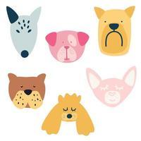 conjunto de diferentes raças de cães. bull terrier, maltês, poodle, bulldog, chihuahua. vetor