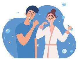 jovem casal escovando os dentes juntos. namorado e namorada no banheiro juntos. vetor