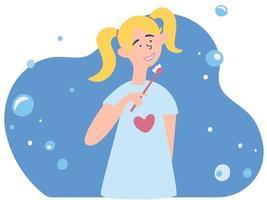 menina escovando os dentes. procedimento de higiene oral ou dentária. vetor