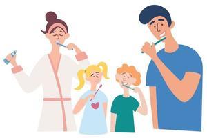 família escovando os dentes juntos. pai, mãe, filho e filha escovando os dentes. vetor