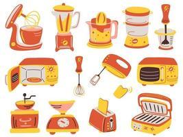 conjunto de aparelhos de cozinha de desenhos animados. espremedor de sumos, grelha, liquidificador, balança electrónica, moedor de café, torradeira, liquidificador, forno microondas, batedeira. vetor