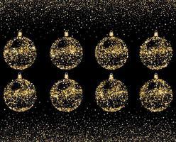 bolas de decoração dourada de glitter de natal isoladas no preto vetor