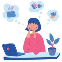 jovem está sentada à mesa com o laptop e pensando em algo. uma garota sonha com cosméticos, um bolo delicioso ou lendo livros com café. vetor