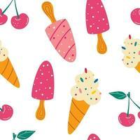 padrão sem emenda com sorvete. padrão de verão, sobremesas doces, cereja. vetor