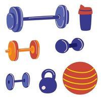 conjunto de equipamentos de fitness e musculação. conjunto de ginástica em casa. conceito de vida saudável do esporte. vetor