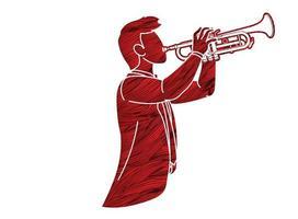 trompetista músico orquestra vetor