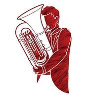 músico tocador de tuba orquestra vetor