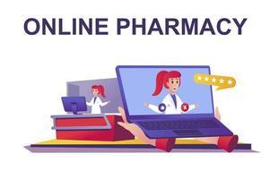 conceito de web de farmácia online em estilo simples vetor