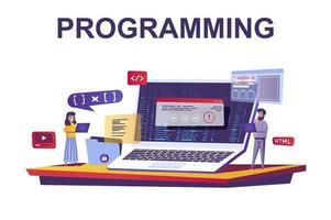 conceito de programação e codificação da web em estilo simples vetor