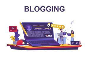 conceito de web de serviço de blog em estilo simples vetor
