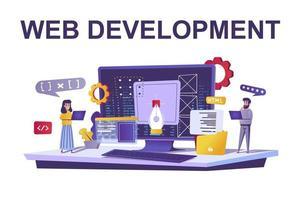 conceito de desenvolvimento web em estilo simples vetor