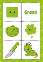 aprendendo cores flashcard para crianças - verde vetor