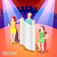 ilustração em vetor fundo isométrico show de mágica