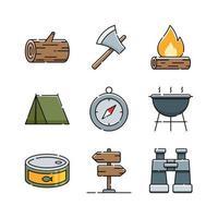 conjunto de ícones de acampamento de verão vetor
