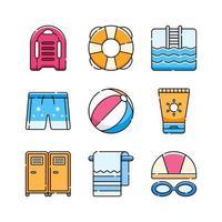 desenho de conjunto de ícones de natação vetor