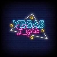 Vetor de texto de estilo de sinais de néon de luzes de vegas