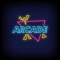 vetor de texto de estilo de sinais de néon arcade