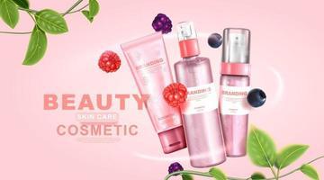 embalagem de beleza, creme cosmético, mistura de frutas e vitaminas de colágeno, cuidados para a pele vetor