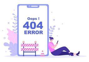 Ilustração em vetor erro 404 e página não encontrada