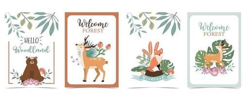 coleção de fundo de floresta com animal vetor