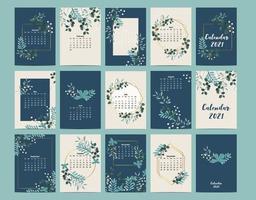 calendário bonito 2021 com folha, flor, natural. pode ser usado para gráfico imprimível vetor