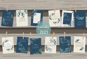 calendário fofo 2021 com folha vetor