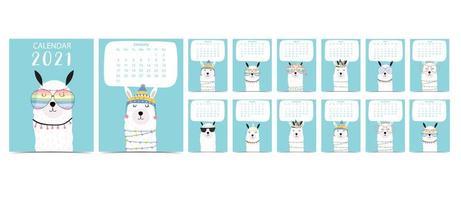 calendário pastel doodle definido para 2021 com lhama vetor