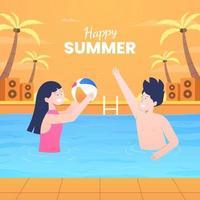 feliz férias de verão nadando vetor