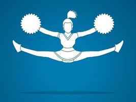 cheerleader jumping action vetor