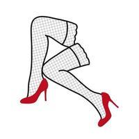 pernas femininas em meias e sapatos vermelhos. ilustração vetorial. design para publicidade, impressão, adesivos, indústria da moda e beleza vetor