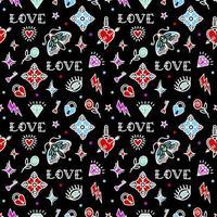 padrão sem emenda de tatuagem da velha escola com símbolos de amor. ilustração vetorial. design para o dia dos namorados, palafitas, papel de embrulho, embalagens, têxteis vetor