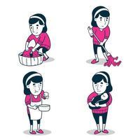 conjunto de mulheres com trabalho de dona de casa vetor