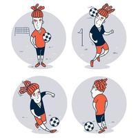 conjunto de jogador de futebol desenhado à mão vetor