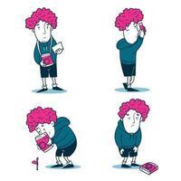 conjunto de expressão de personagem de fotógrafo desenhado à mão vetor