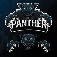 Ilustração do logotipo do esporte de pantera de animal selvagem com raiva vetor