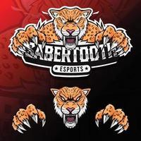 Ilustração do logotipo esport com dente de sabre de animal selvagem furioso vetor