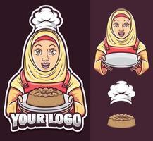 Chef garota muçulmana usando logotipo hijab e conjunto de ilustração vetor